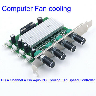 PC 4 Channel 4 Pin 4-pin PCI Cooling Fan Speed Controller Support Turn OFF Fan