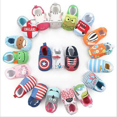Cartoon Newborn Baby Boys Soft Sole Infant Toddler Prewalker Crib Cotton Shoes