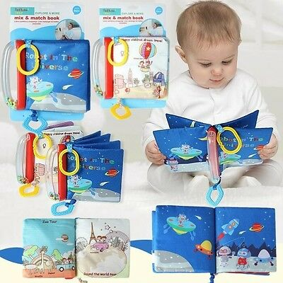 Baby Kid Child Rattles Crinkle Teether Attachable Travel Explore Cloth Book Toy