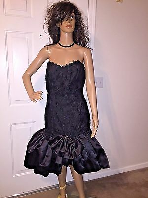 Vtg 80's M Size 11/12 Roberta Black Lace Rhinestone Bow Party Prom Dress