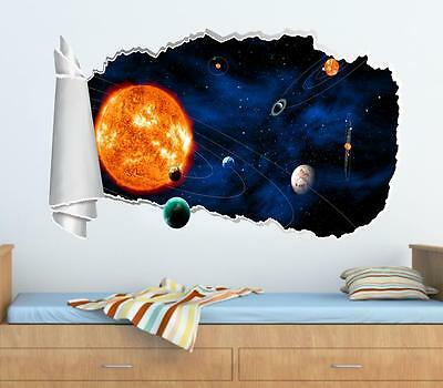 Space Planets Sun Stars 3D Torn Hole Ripped Wall Sticker Decal Art Mural WT70