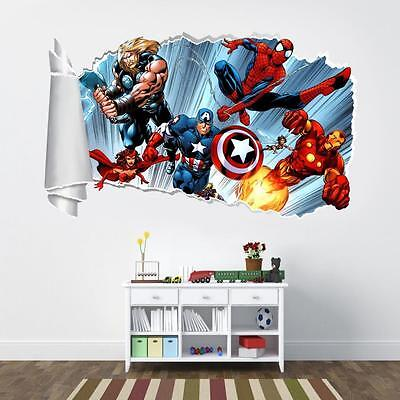 Marvel Super Hero Avengers 3D Torn Hole Ripped Wall Sticker Decal Art Mural WT59