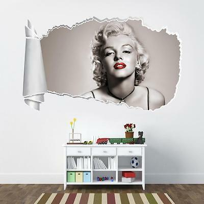 Marilyn Monroe Red Lips 3D Torn Hole Ripped Wall Sticker Decal Art Mural WT58