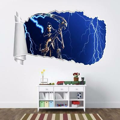 Grim Reaper 3D Torn Hole Ripped Wall Sticker Decal Art Mural Angel Of Death WT34