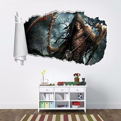 Grim Reaper 3D Torn Hole Ripped Wall Sticker Decal Art Mural Angel Of Death WT35
