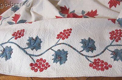 Museum Americana c 1840s Applique Antique Quilt RED white BLUE Stuffed Stipple W