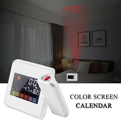 Digital Projection Weather LCD Snooze Alarm Clock Color Display w/ LED Backlight