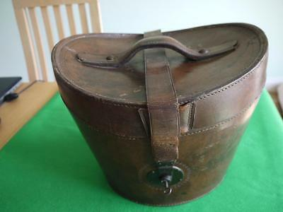 Amazing Victorian Leather Hat Box Case With Lock & Key + An Atlas Bowler Hat