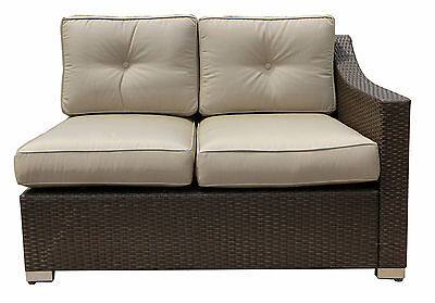 World Wide Wicker Tampa Left Arm Double Sectional Piece with Cushion