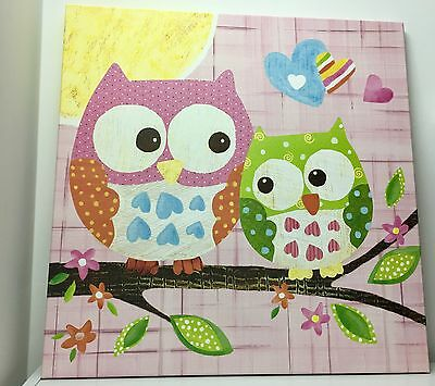 Love and Nature, Owls On Canvas, Pink