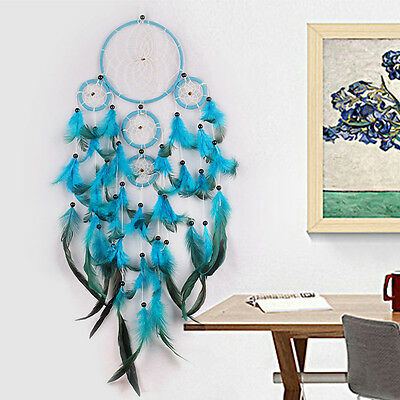 1*Traditional Blue Dream Catcher wall hanging decoration bead ornament feathers