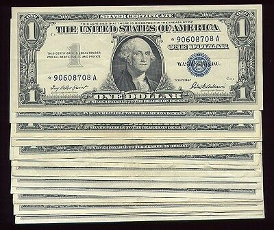 (25) 1935 1957 $1 SILVER CERTIFICATE LOT with star note XF/AU