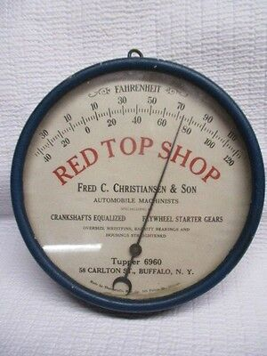 1920s 30s Thermometer Red Top Shop Automobile Machinists Fred Christiansen & Son