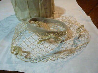 VTG 50s 60s Beige LACE Birdcage Bows Veil Wedding FASCINATOR Hat Costume Theater