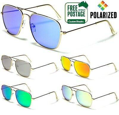 Air Force Polarised Sunglasses - Square Aviator Frame - Polarized Mirror Lens