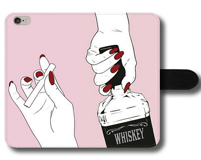 Whiskey Cigarette Smoke Fun Sexy Red Nails Cool Weekend Leather Phone Case Cover