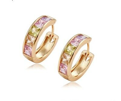 """9ct 9K Yellow """"Gold Filled"""" Ladies Multi Colour Stones Small Hoop Earrings.20mm"""
