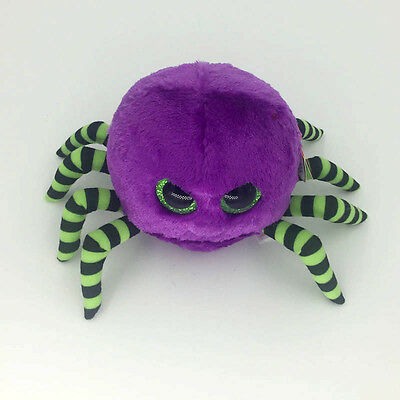 "Ty Beanie Boos 6"" Crawly Halloween Purple Spider Stuffed Plush Toy Kids Gifts BU"