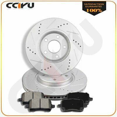 Fit Dodge Ram 1500 Front Drilled And Slotted Brake Discs Rotors Ceramic Pads Kit