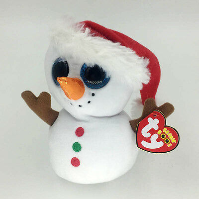 "Ty Beanie Boos 6"" White Christmas Snowman Stuffed Plush Toys Child Gifts BU"