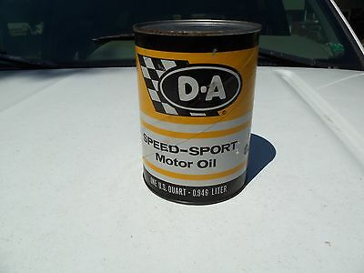 NOS VINTAGE D-A Speed Sport Motor Oil Can Full 1 Quart Lubricant NEW OLD STOCK