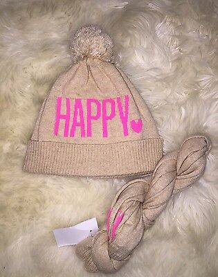 Nwt Girls Crewcuts Wool Blend Tan Pink Pompom Happy Heart Hat And Scarf Set S/M