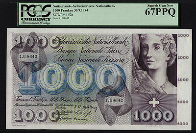 TT PK 52s 1954-74 SWITZERLAND 1000 FRANKEN PCGS 67 PPQ SUPERB GEM FINEST KNOWN