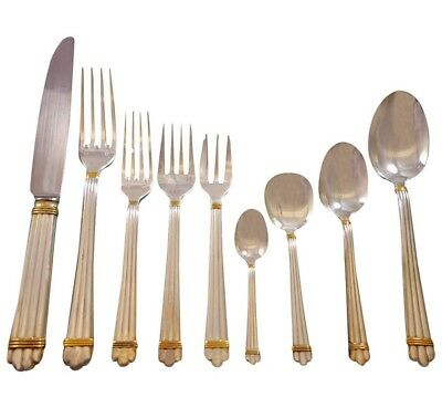 Aria Gold by Christofle France Silverplate Flatware Set Service 86 pieces Dinner