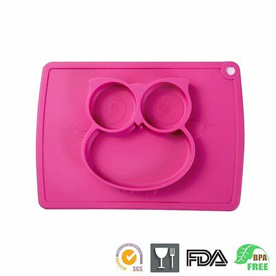 One-Piece Silicone Mini Suction Placemat Plate Pink Owl with a Ziplock Bag