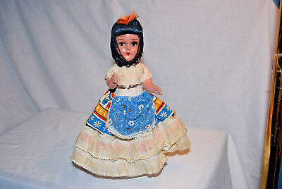 9 Inch Girl Doll That Is A Composition, Souvenir And Vintage From Mexico.