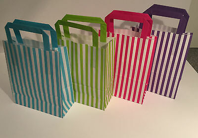 Luxury Paper Party Bags With Flat Handles Stripe Wedding Hen Baby Loot Kids Xmas