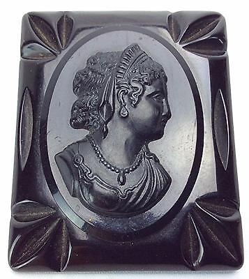 Victorian Solid Black Carved Bakelite Cameo Mourning Brooch Pin Womans
