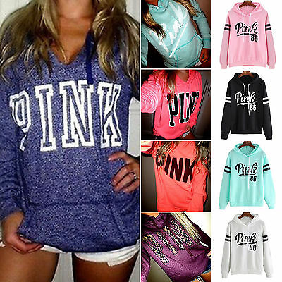 Women Hooded Hoodies Long Sleeve Casual Sweatshirt Pullover Jumper Top Coat Pink