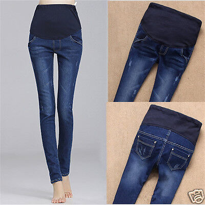 Hot Maternity Pregnant Women Jeans Pants Elastic Cotton Belly Legging Trousers