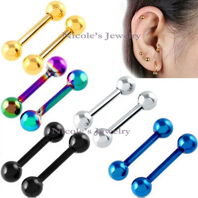 1pc 16G 316L Surgical Steel Gothic Ear Round Barbell Ball Stud Piercing Earring