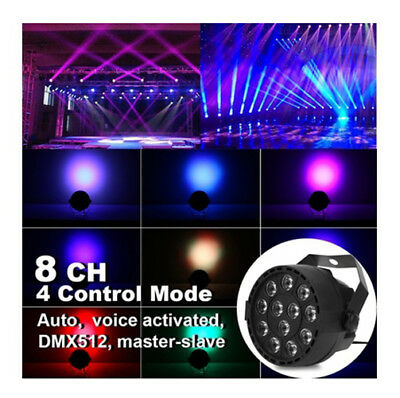 12 LEDs RGBW Stage Light with Color Mixing Par 8CH Voice Activated Design