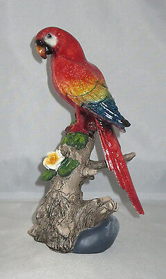 """Red Parrot Bird Figurine Perched on Tree Branch Yellow Flower 8.75"""" High New"""