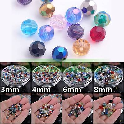 100pcs 3/4/6/8mm Round Faceted 32Facets Crystal Glass Loose Beads Jewelry Making