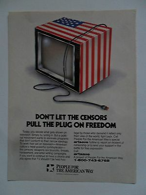 1995 Print Ad People for the American Way ~ Don't Let Censors Pull the Plug