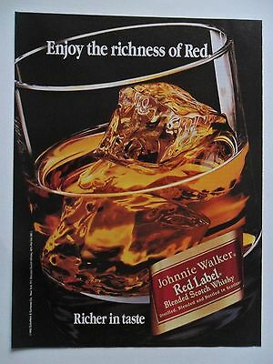 1993 Print Ad Johnnie Walker Red Label Whiskey ~ Enjoy the Richness of Red