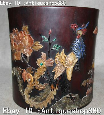 China Huanghuali Wood Inlay Shell Peacock Peafowl Flower Brush Pot Pencil Holder