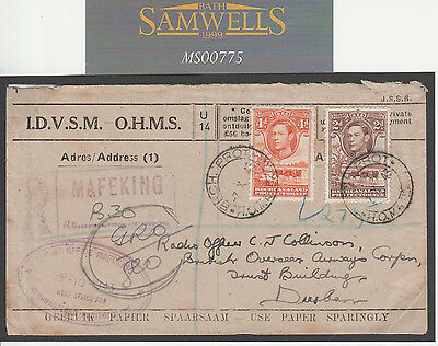 MS775 1943 BECHUANALAND WW2 OFFICIAL *H.O.Mafeking* CDS Registered Cover Durban