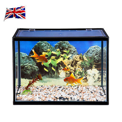 UK NEW Aquarium Litre Glass Aquarium Fish Tank Starter Pump Net Plant Stones