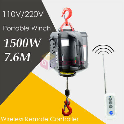 NEW AC110V220V Portable Household Electric Winch Hand Lifting w/ Wireless Remote