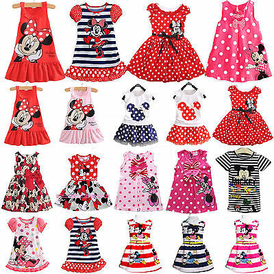 Kids Baby Girls Minnie Mouse Shift Dress Toddler Sundress Clothes Mini Skirts