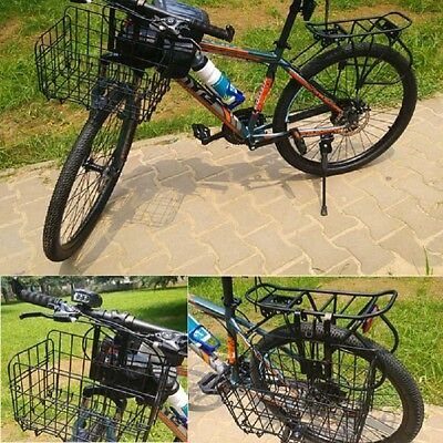 Foldable Bike Basket Bicycle Storage Basket for Front Rear Metal Wire Black