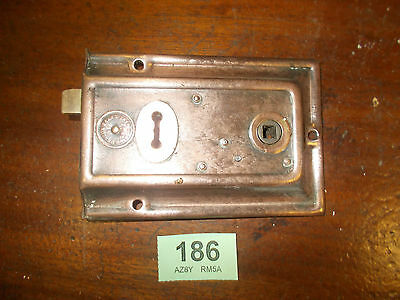 Antique Rim Lock Door Latch Locks Duel Handled Copper effect 186