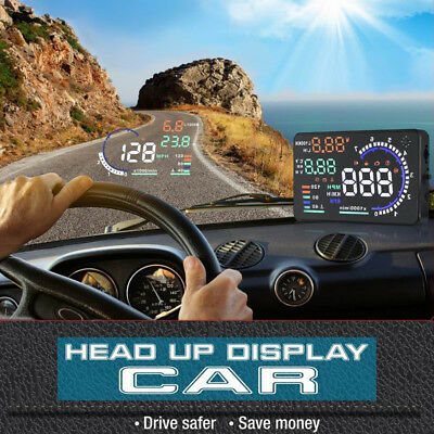 "5.5"" A8 HUD Head Up Display OBD II GPS MPH / KM/h Speedometer Speed WarningMD"
