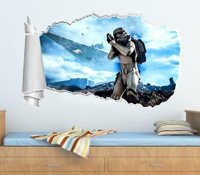 Star Wars Stormtrooper 3D Torn Hole Ripped Wall Sticker Decal Decor Art WT97