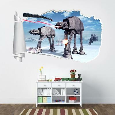 Star Wars Battle Of Hoth 3D Torn Hole Ripped Wall Sticker Decal Art Mural WT92